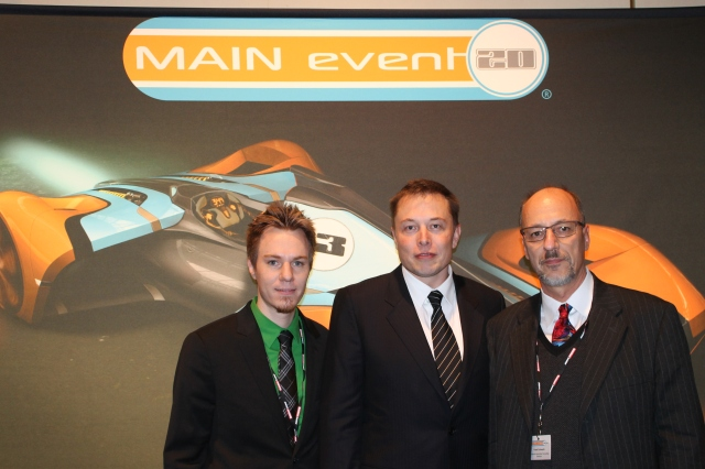 Elon Musk (center) flanked by Steve Schwartz (AACS)  and yours truly