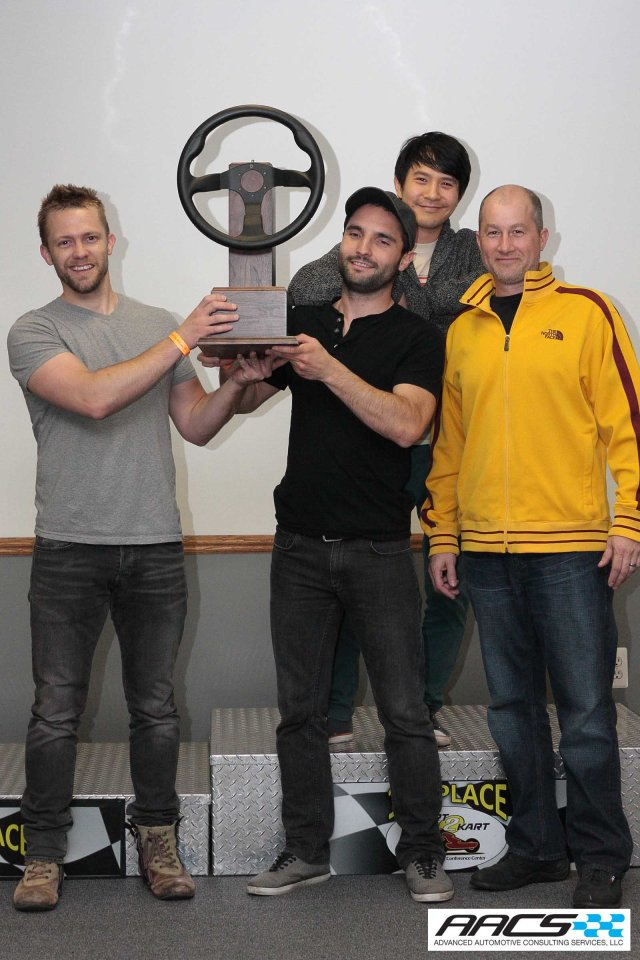 What's left of the Chrysler Team accepting the AACS Golden Wheel Trophy